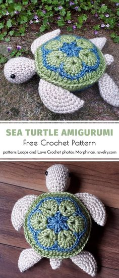 Sea Turtle Amigurumi Free Crochet Pattern Here is one more adorable sea turtle with a beautifully decorated shell. Floral motifs always make every amigurumi project so special! Crochet a whole family of these elegant. Crochet Animal Patterns, Stuffed Animal Patterns, Crochet Patterns Amigurumi, Crochet Animals, Crochet Dolls, Sewing Patterns Free, Crochet Turtle Pattern Free, Crochet Stuffed Animals, Amigurumi Doll