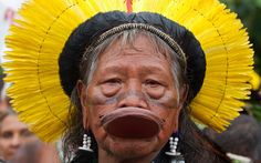 Kayapo tribal leader Raoni Metuktire attends a protest during the UN Conference on Sustainable Development