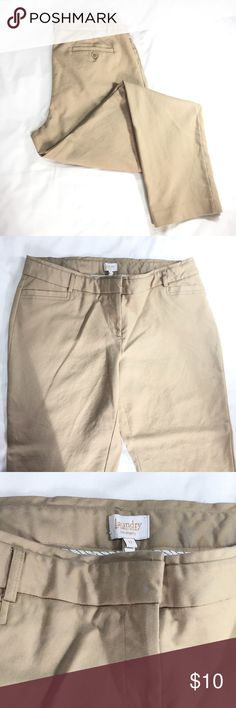 Laundry Flat Front Khaki Pants This is a pair of flat front trouser style khaki pants from Laundry by Shelli Segal. They've been worn only once, and are very comfortable and stylish. Get your preppiness on by pairing with an oxford button down shirt and some colorful slip-ons! Laundry by Shelli Segal Pants Straight Leg