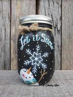 Let It Snow Hand painted Mason jar Winter Decor Snowman Pint Mason jar Crafts Mason Jar Christmas Crafts, Mason Jar Crafts, Mason Jar Diy, Diy Christmas, Wine Bottle Crafts, Bottle Art, Painted Jars, Hand Painted, Pint Mason Jars