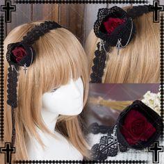 Japanese-Harajuku-Gothic-Lolita-Vintage-Cross-Rose-hair-band-Hair-Accessories