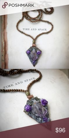 Handmade Amethyst Beaded necklace This one of a kind necklace is handmade with raw Amethyst points, purple geodes, crushed Pyrite, and labradorite stones on soft leather strong on copper and hung from a metal beaded chain. This necklace is absolutely unique!! NOT FREE PEOPLE JUST USING FOR EXPOSURE AND AS A STYLE GUIDE. Free People Jewelry Necklaces