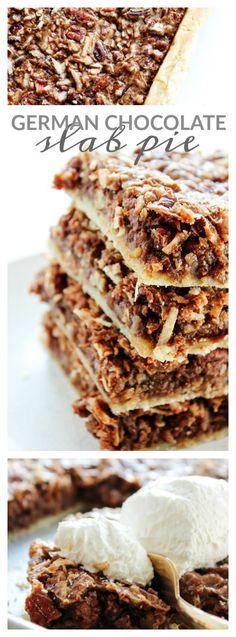 German Chocolate Slab Pie - A Dash of Sanity