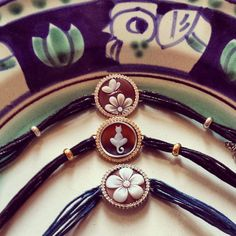 Modern cameo bracelets.  #donadiojewelry #bracelet #flower #cameojewelry #cat