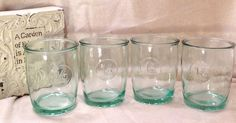 4 Starbucks Authentic 100% Recycled Green Glass Beverage Glasses 16 oz Tumbler #Starbucks