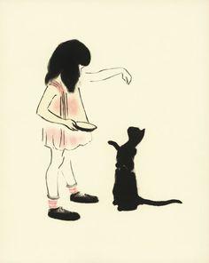 Hand-Fed-schwarze Katze-Print, Kinder Wandkunst, Kindergarten drucken, Cat Illustration, Vintage Home Dekor, Rahmen Nr. 27