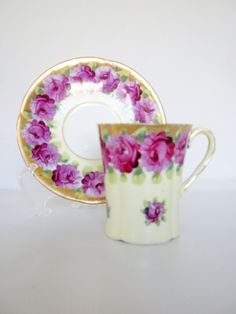 "Antique Tea Cup and Saucer Pink Rose Tea Cup. ""Repinned by Keva xo""."