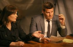 """Brennan (Emily Deschanel) and Booth (David Boreanaz) from the """"The Hot Dog in the Competition"""" episode of BONES on FOX."""