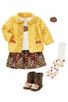 Hedgehog short sleeve top, flower quilted jacket, mini flower print corduroy skirt, flower tights & hedgehog boots