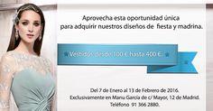 #DESCUENTOS   #PROMOCIÓN   #MADRINAS   #MADRID   Sólo en la tienda de C/ Mayor de Madrid de #ManuGarcia  descuentos  únicos!! Pide ya tu cita en el 91 366 2880.