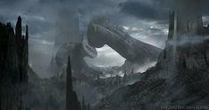 Derelict Spacecraft Homage to H.R. Giger by 2wenty.deviantart.com on @deviantART