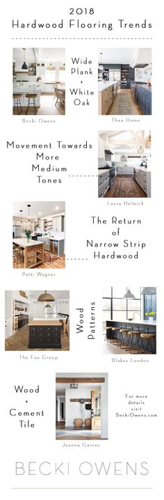 Looking at trending hardwood floor ideas for 2018! Still loving light tone wide plank but check out these other pretty options.