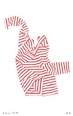 Stripe shirt illustration for Chance co. by Mary Matson available here . tucker blair , needlepoint belt vintage books via:. Graphic Design Illustration, Illustration Art, Red Stripes, Stripe Top, Op Art, Illustrations, Scene, Drawings, Creative