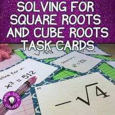 Using these task cards instead of worksheets gets students working with square roots and cube roots of perfect cubes. Check these out today! Teaching Math, Math Teacher, Teaching Tools, Teaching Ideas, Math Vocabulary, Math 8, Square Roots, Student Information, 7th Grade Math