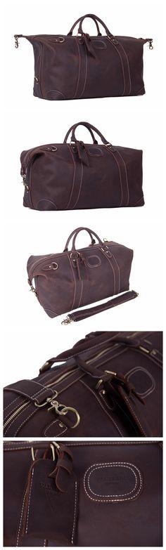 Genuine Leather Travel Bag Men Duffle Bag Large Capacity Gym Bag With  Shoulder Strap Vintage Leather 48b5b19ab3