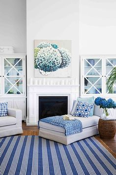 Blue and white Hamptons style living room. Cottage Lounge, Shingle Style Homes, Dining Room Blue, Blue Shutters, Fireplace Built Ins, Lounge Decor, Australia Living, Living Room Inspiration, Interior Inspiration