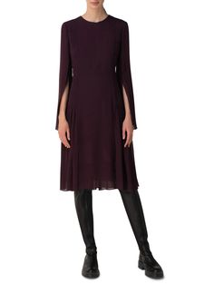 Akris® Official – Silk Georgette Pleated Dress Long Sleeve Silk Dress, Perfect Match, Stylists, Dresses For Work, V Neck, Wool, Elegant, Cotton, Outfits