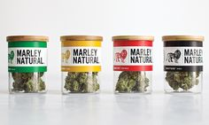 Lineup of four Marley Natural strains - indica, sativa, hybrid, and CBD - in their packaging