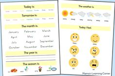 Preschool Calendar 2014-2015: Days of the Week, Months of the Year, Weather, Feelings, and More
