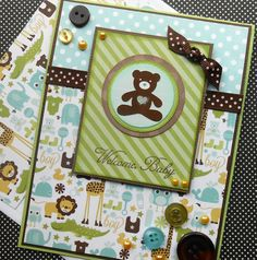 Baby Boy Card with Matching Embellished by SewColorfulDesigns, $6.00