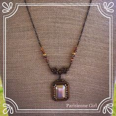 #June 2015 Challenge for #BSueBoutiques  entry #4 from #ParisienneGirl  perfect for the #MOB Mother of the Bride  featuring #pearl cab, brass ox setting, connector & #rhinestone chain from www.bsueboutiques.com www.parisiennegirl.com