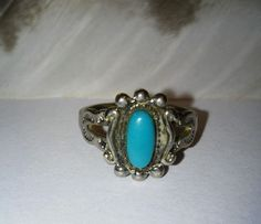 Vintage Old Pawn Sterling Silver Turquoise Child's Ring Size 3