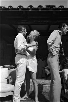 Brigitte Bardot and husband Gunther Sachs at his home in Rome, 1967.