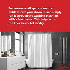 How about those shower curtain liners? Follow this cleaning tip to help keep mold at bay. House Cleaning Tips, Cleaning Hacks, Shower Liner, Clean House, Washing Machine, How To Remove, Curtains, Home Ideas, Blinds