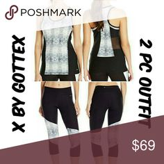 🆕🏁 X by Gottex 2 Piece Workout Outfit NEW! Fashion forward athleisure set by X by Gottex. Features snake print and mesh inserts. Tank is 92% polyester 8% spandex Capris are 88% polyester 12% spandex Gottex  Pants Leggings