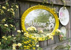 stenciled mirror on my fence with my yellow Lady Banks roses
