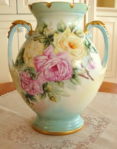 Large Antique Limoges France Mantle Vase Hand Painted ~Roses~