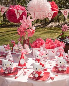 hello kitty party set up...i like it, but i would do it more colorful