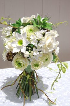 Clay Bouquet, Bridal bouquet, White and Green, Natural look bouquet, DEPOSIT ONLY
