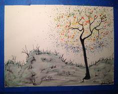 Splatter tree in watercolor