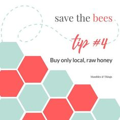 Im introducing a new line of bracelets.  For every Save the Bees! bracelet sold I will donate to Save the Honeybee Foundation. Countdown to the release of these bracelets continues now with my next tip for how you can Save the Bees.  Tip #4: Buy only local raw honey The honey you buy directly sends a message to beekeepers about how they should keep their bees. For this reason and for your own personal health strive to buy local raw honey that is from hives that are not treated by chemicals…