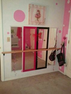 Ballet mirror DIY MUST FOR AVA! I WOULD TAKE OFF THE FRAMES AND PAINT THE BARRE TO MATCH HER ROOM. LOVE IT!!!