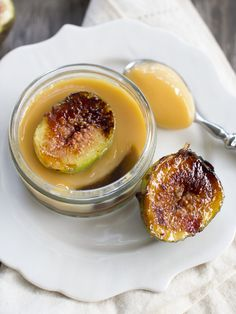 Rum and Ginger Flan with Caramelised Figs