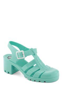 01c43d9d9d54 Fun in the Pair Shoe in Mint - cutesy 90s Mid Heel Sandals