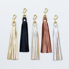 Leather Tassel Keychain Tassel Purse Charm Tassel by JillyDesigns