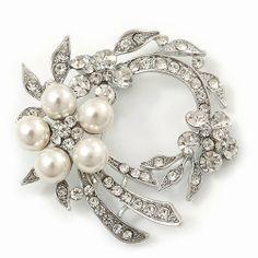 White Glass Pearl/ Clear Crystal Wreath Brooch In Rhodium Plating - 5cm Diameter Avalaya, http://www.amazon.co.uk/dp/B00B90OYFM/ref=cm_sw_r_pi_dp_MhgYsb168E7DF