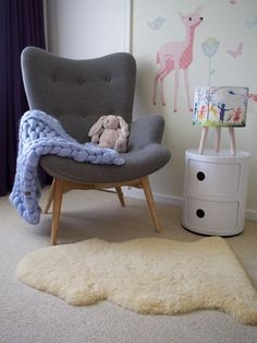 Instantly add a pop of colour and into your little one's The Abby St Claire - Little Piggy St Claire, Color Pop, Colour, Bassinet, Little Ones, Nursery Decor, Accent Chairs, Texture, Blanket