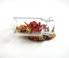 Miniature Octopus in Bottle Clay Octopus Coral Reef by ChikoCraft