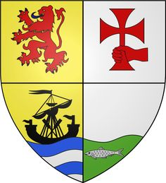 MacLACHALAN of MacLachalan Quarterly, 1st, Or, a lion rampant, Gules; 2nd, Argent, a dexter hand, couped, fessways, holding a cross patée, paleways, Gules; 3rd, Or, a lymphad, her oars in saltire, Sable, plased on the sea, Proper; 4th, Argent, on a base, undée, Vert, a salmon, naiant, Proper.