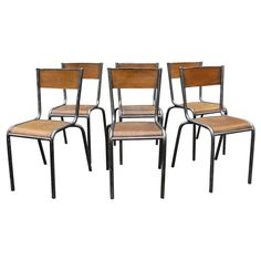 Set Of Six French Schoolhouse Chairs | From a unique collection of antique and modern chairs at https://www.1stdibs.com/furniture/seating/chairs/