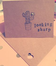 handmade funny cactus card,greeting cards geek,pun cards,love husband card,birthday,blank inside by Dorkanddorkettecards on Etsy