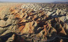 Fotos de la Montaña Arcoiris en el Zhangye Danxia Landform Geological Park de China, imágenes de la Montaña Arco Iris con sus espectaculares colores