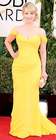 Melissa Rauch: 2014 Golden Globes The Big Bang Theory actress wore a yellow, silk chiffon, off the shoulder gown with a sweetheart neckline and draped slim couture skirt by Romona Keveza.