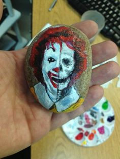 McTruthRonald McDonald Portrait on Small River Rock by artbrains, $45.00