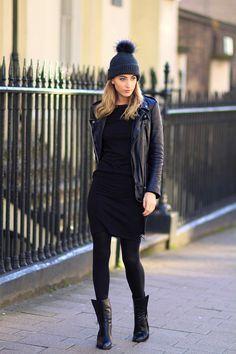 Robe noire +boots noires + perfecto cuir