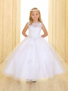 4b330d9a5de 2016 White Appliques Crystal First Communion Dresses for Little Girls Lace  Up Flower Girl Dresses for Weddings Vestidos